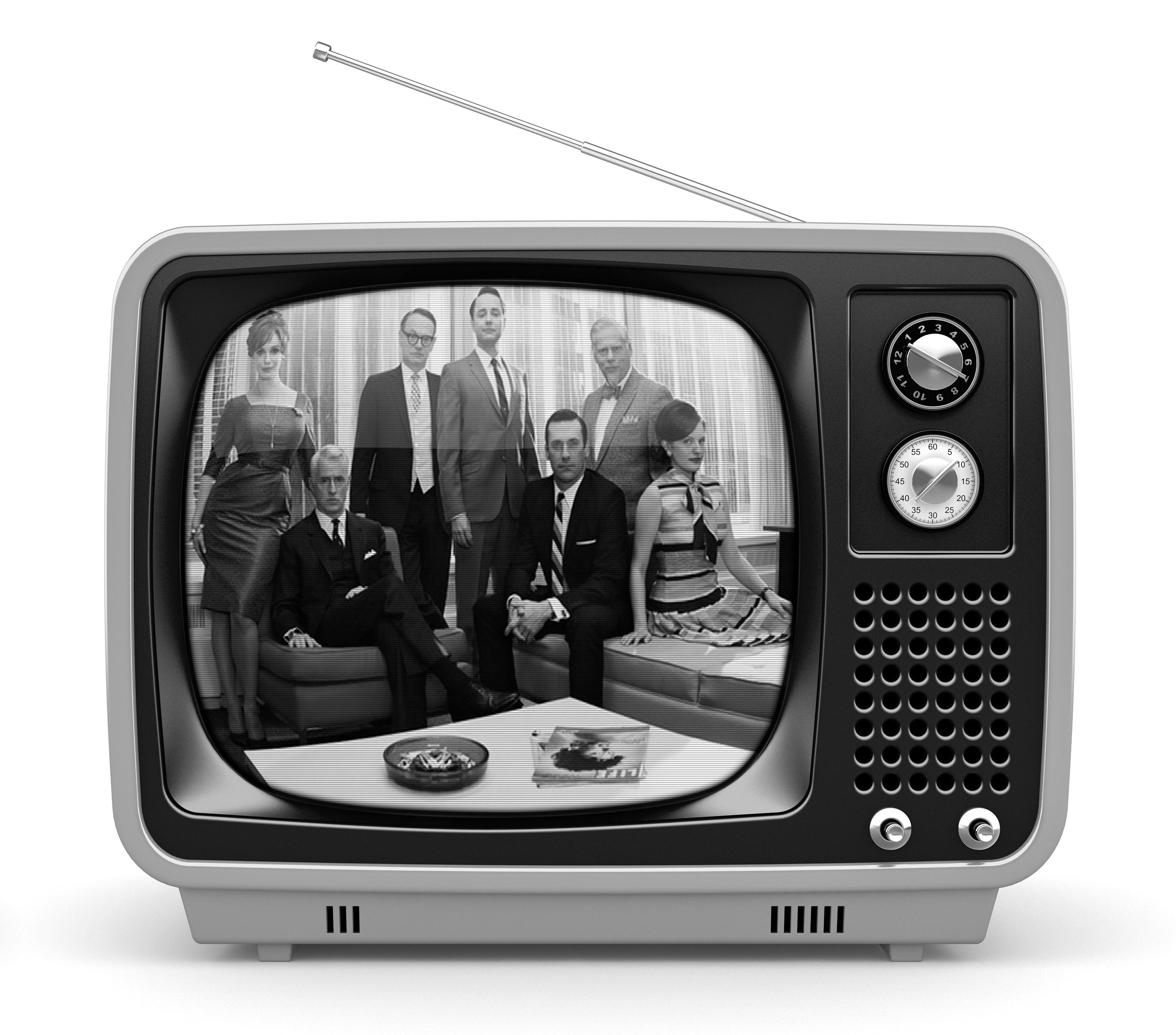 Multicolored retro TV on white background