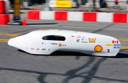 The CT 2.0, race number 2, a Prototype vehicle running on gasoline for team AlÈrion Supermileage from Universite Laval in Quebec, Canada, on the track during day three of the Shell Eco-marathon Americas in Detroit, Saturday, April 23, 2016. (Rick Osentoski/AP Images for Shell)